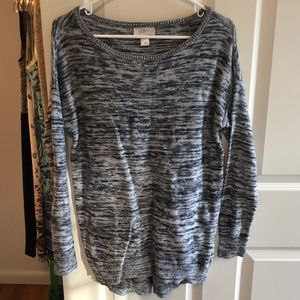 Loft navy/gray long sleeve sweater, size medium